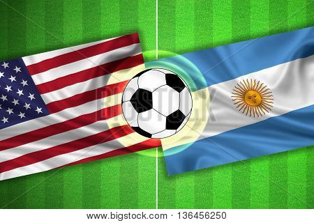 green Soccer / Football field with stripes and flags of usa / america - argentina and ball - 3d illustration