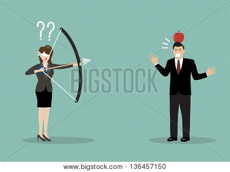 Blindfold business woman aiming to shoot at apple on another man's head. Business risk concept