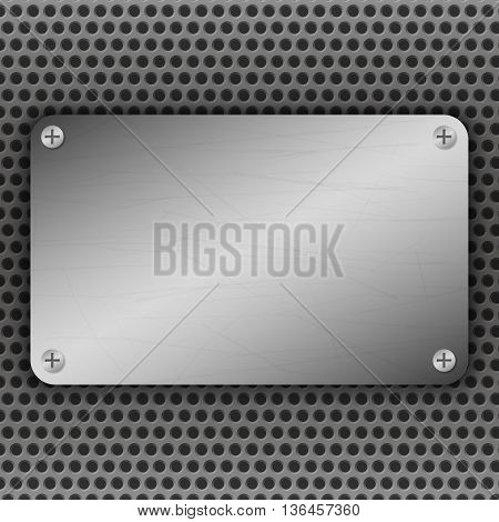 Perforated Metal Background with plate and rivets. Metallic grunge texture. Brushed Steel iron aluminum surface template. Abstract techno vector illustration.