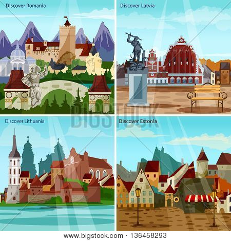 European Cityscapes Concept. Europe And Sights Vector Illustration. European Cities Flat Icons Set. European Countries Design Set. Eastern Europe Isolated Elements.
