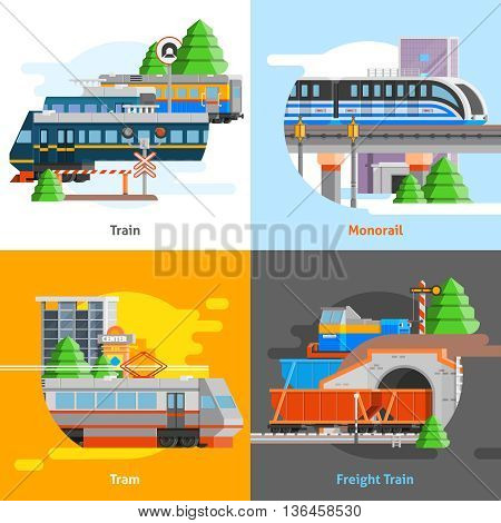 Rail transport 2x2 design concept set of passenger and freight trains monorail and tram compositions flat vector illustration