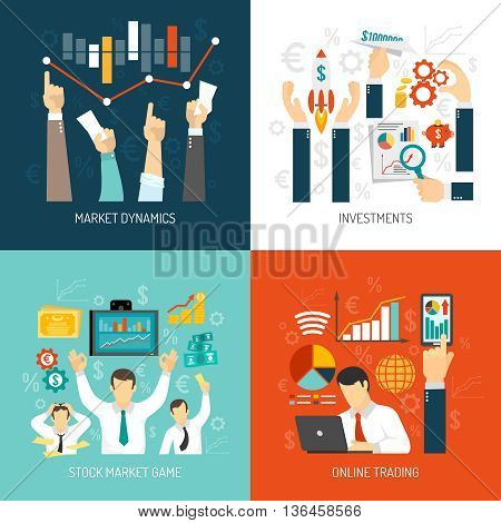 Stock market concept with graphs diagrams analysis of price dynamics investments online trading isolated vector illustration