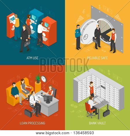 Bank Isometric Concept. Bank Icons Set. Bank Vector Illustration. Bank Office Symbols. Bank Design Set. Bank Elements Collection.