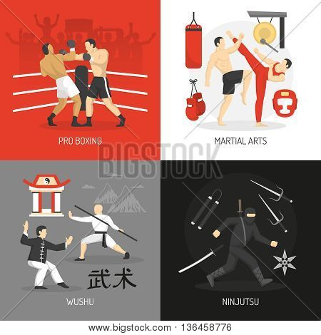 Martial arts concept with boxing chinese fighting school ninja and edged weapon training equipment isolated vector illustration