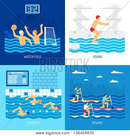 Water sport concept with polo swimming diving in pool canoe rowing at outdoor isolated vector illustration