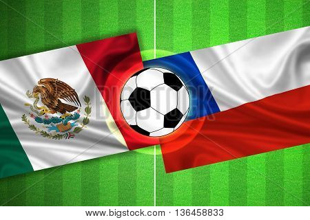 green Soccer / Football field with stripes and flags of mexico - chile and ball - 3d illustration