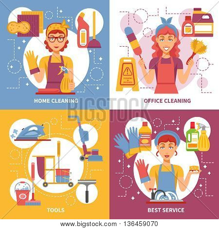 Four square cleaning service icon set on several topics such as home cleaning office cleaning tools and best service vector illustration