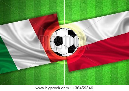 green Soccer / Football field with stripes and flags of italy - poland and ball - 3d illustration