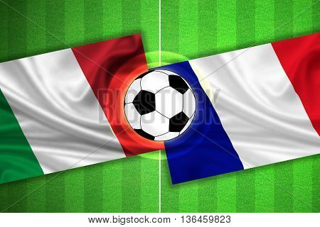 green Soccer / Football field with stripes and flags of italy - france and ball - 3d illustration