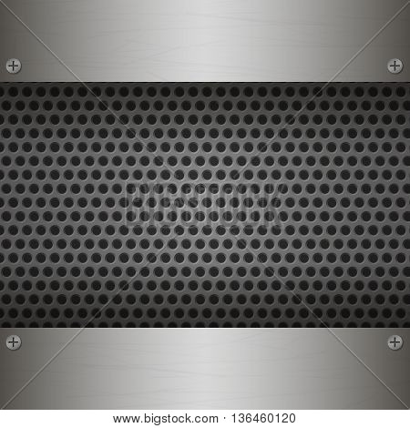 Perforated Metal Background with plates and rivets. Metallic grunge texture. Brushed Steel iron aluminum surface template. Abstract techno vector illustration.