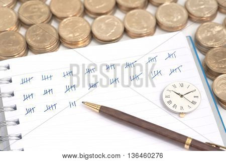 Abstract pile of money around ring bound book with mark showing amount of counted money and clock on top of the book which showing working time