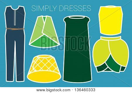SIMPLE DRESSES Collections of dresses are illustrated in colorful simply style.