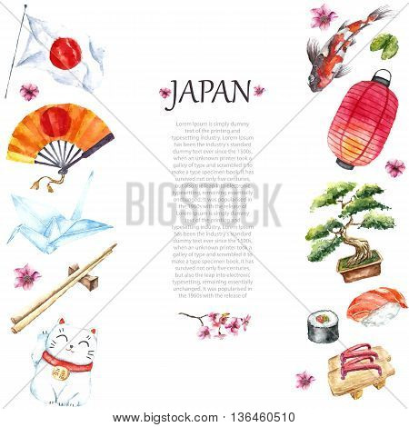 Watercolor Japanese frame. Frame with hand draw Japanese objects:Torii gate, origami bird, Japan flag, lacky cat, Japanese lantern and fan, geisha shoes, bonsai tree, koi fish and cherry blossom.