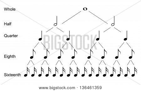 Types of musical notes, black on white background
