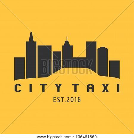 Taxi cab vector logo icon. Car hire black and yellow background badge app emblem. City taxi design element