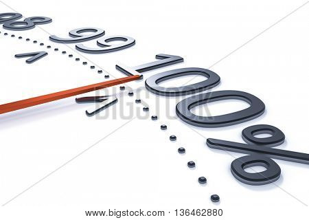 3d rendering of a percent meter with a red arrow at 100 percent