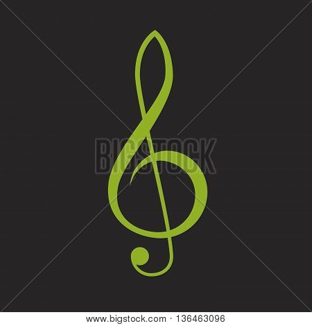 Green treble clef vector icon, music symbol