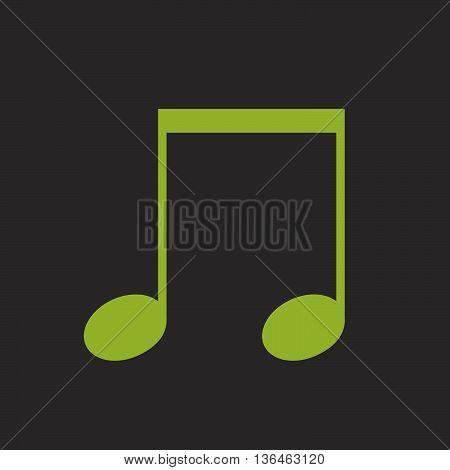 Music beamed note vector icon green on black background