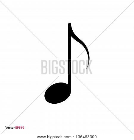 Black isolated music eighth note vector icon
