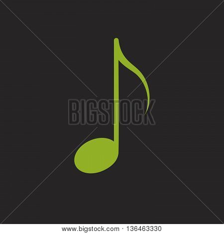 Green isolated music eighth note vector icon