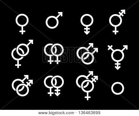 Set of genders symbols on black background