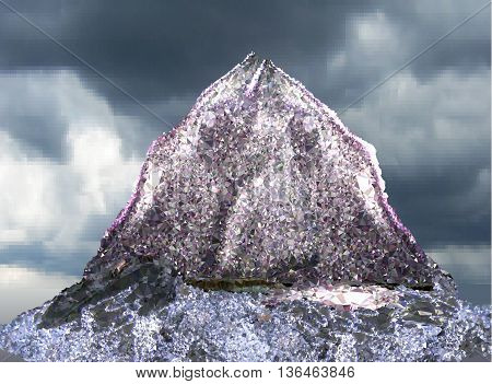 Landscape with silver lone mountain and lake