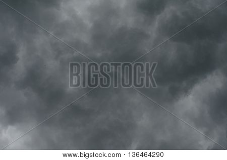 Bacground of gray thunderstorm clouds gloomy skies in bad weather