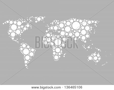 World map mosaic white dots vector photo bigstock world map mosaic of white dots in various sizes on grey background vector illustration gumiabroncs Gallery