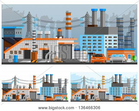 Industrial buildings orthogonal compositions set with pipes and parking flat isolated vector illustration