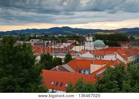 Old town of Trencin as seen from the castle hill.