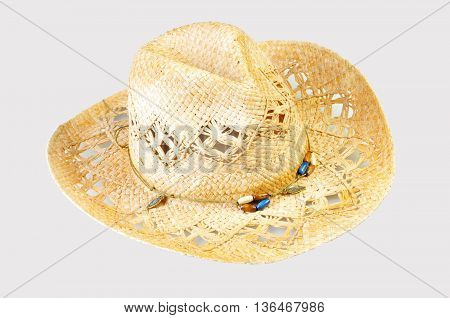 A cowboy hat isolated on grey background horizontal with copy space