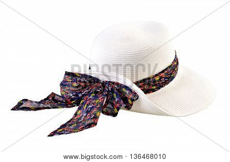 White straw hat with bow isolated on white background