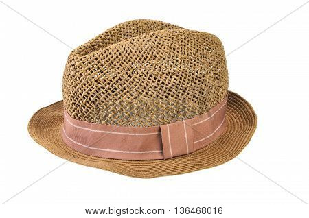 Mens straw hat isolated on white background