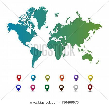 Vector world map with colorful pointer marks isolated on a white background. Map pin. Map pointer. Flat style vector illustration