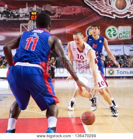 Bc Krasnye Krylia Forward Yuri Vasilyev (10) Drives To The Basket