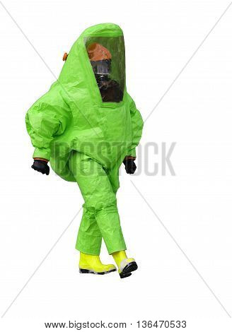Man With Green Protective Gear Against Biological Risk