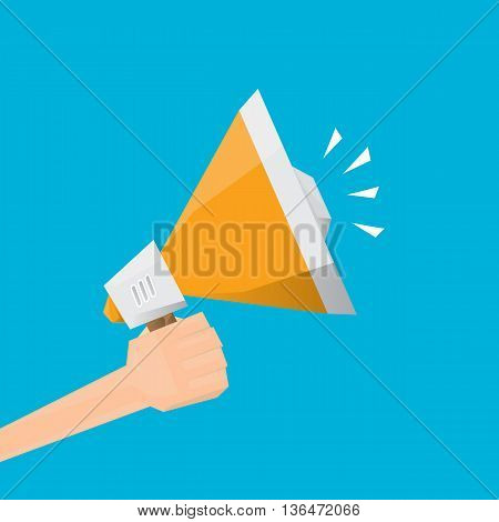 hand holding megaphone. Promotion and advertising flat style banner. vector Digital marketing. cartoon Business concept.