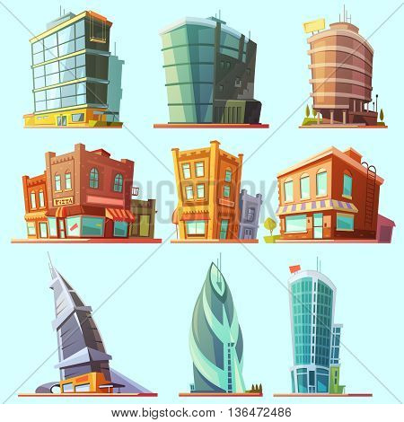 Historical and modern world most visited famous distinctive buildings icons set for tourists cartoon isolated vector illustration