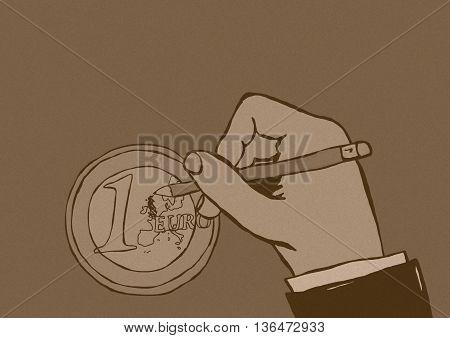 Delete Britain vintage image of euro coin