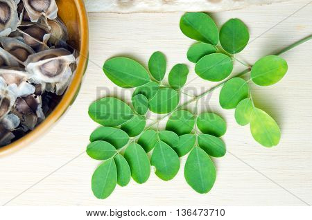 Moringa (Other names are Moringa oleifera Lam. MORINGACEAE Futaba kom hammer vegetable hum hum bug Moringa bug Hoo) leaf and moringa seed on wooden board