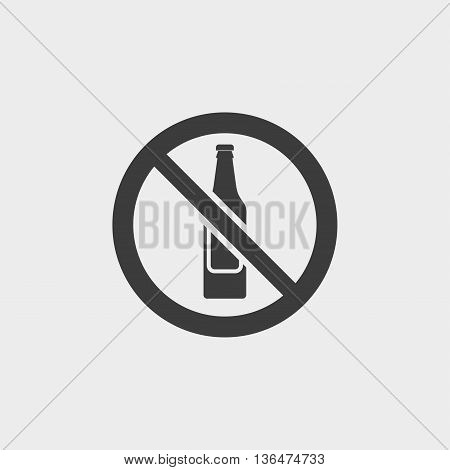 No alcohol icon in a flat design in black color. Vector illustration eps10