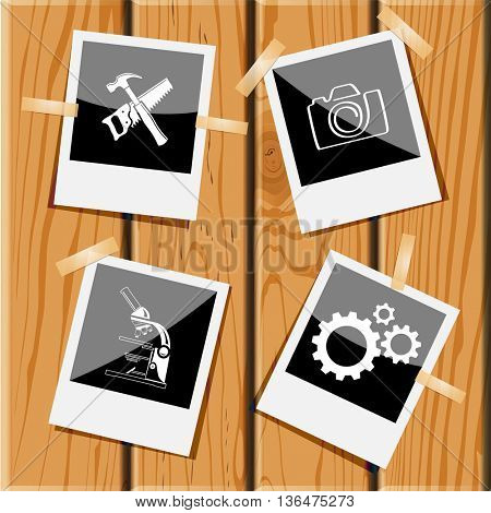 4 images: hand saw and hammer, camera, lab microscope, gears. Tehnology set. Photo frames on wooden desk. Vector icons.