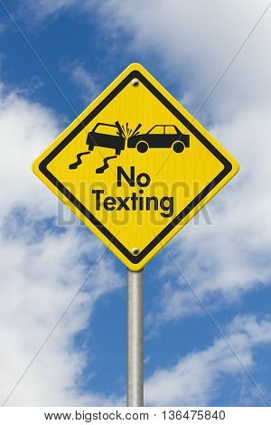 No Texting Yellow Warning Highway Road Sign Yellow Warning Highway Sign with words No Texting and car crash with sky background,3D Illustration