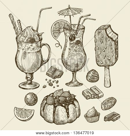 Food and drinks. Hand-drawn cocktail, smoothie, pie, pasty, cake, ice lolly, sundae milkshakes chocolates dessert Sketch vector illustration