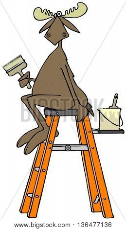 Illustration depicting a bull moose sitting at the top of a stepladder while holding a paintbrush.