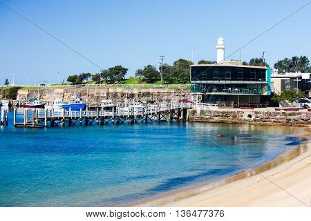 Wollongong Harbor, Australia where people can swim, fish or eat fresh fish at the restaurant