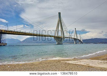 The cable bridge between Rio and Antirrio, Patra, Western Greece