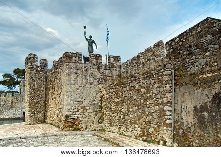 The port of Nafpaktos town and monument over Castle wall, Western Greece