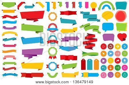 This image is a vector file representing Ribbon Labels Stickers Banners vector design collection.