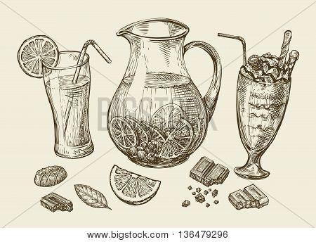 Drinks. Hand-drawn cocktail, smoothie, pitcher of lemonade, milkshakes, fruit juice, chocolate, dessert beverage Sketch vector illustration